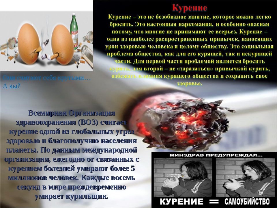 Всемирная Организация здравоохранения (ВОЗ) считает курение одной из глобальн...