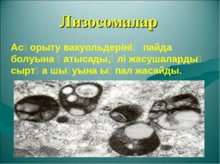 Лизосомалар Асқорыту вакуольдерінің пайда болуына қатысады,өлі жасушалардың с