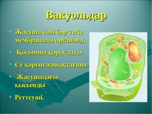 Вакуольдар Жасуша сөлі бар тегіс мембраналы органоид. Қосымша қорек заты Су