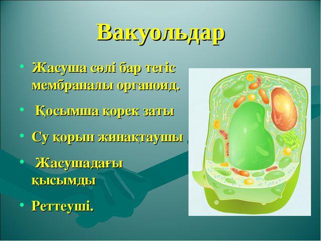 Вакуольдар Жасуша сөлі бар тегіс мембраналы органоид. Қосымша қорек заты Су...