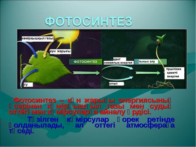 Фотосинтез – күн жарығы энергиясының әсерінен көмірқышқыл газы мен судың отт...