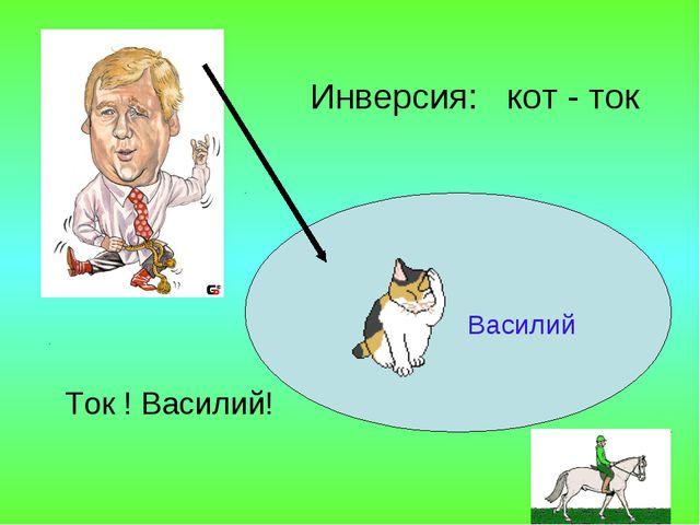 Василий Ток ! Василий! Инверсия: кот - ток .