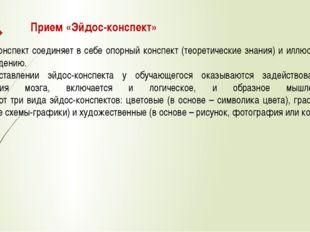 Прием «Эйдос-конспект» Эйдос-конспект соединяет в себе опорный конспект (теор
