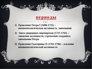 периоды Правление Петра I (1696-1725) – внешнеполитическая активность, завоев