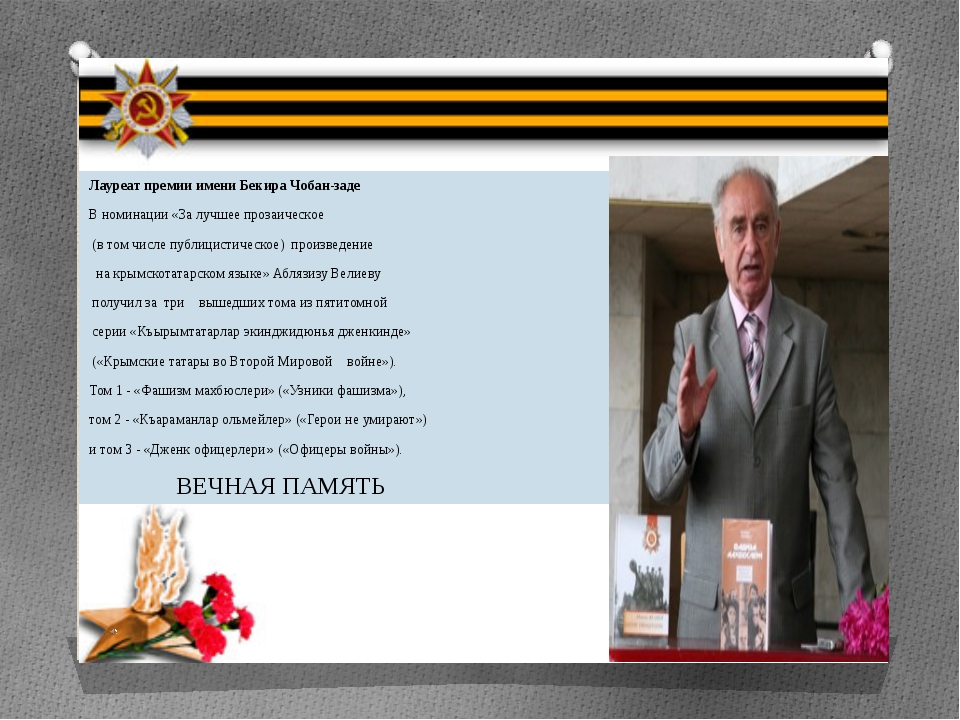 Лауреат премии имени Бекира Чобан-заде В номинации «За лучшее прозаическое (...