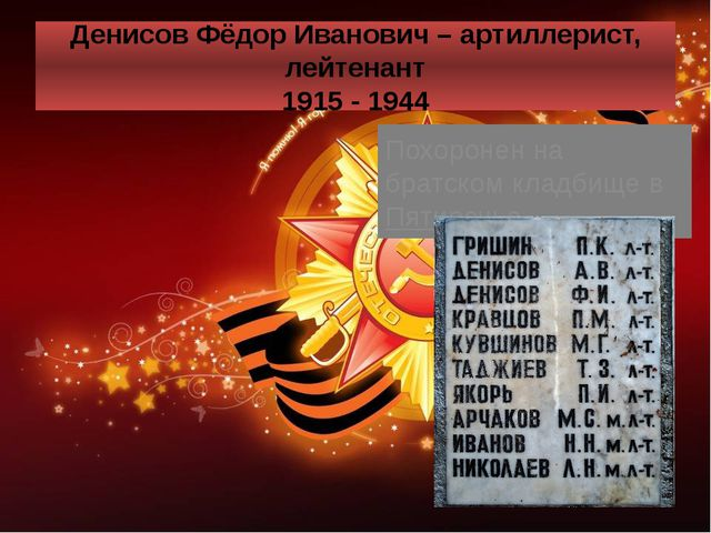 Денисов Фёдор Иванович – артиллерист, лейтенант 1915 - 1944 Похоронен на брат...