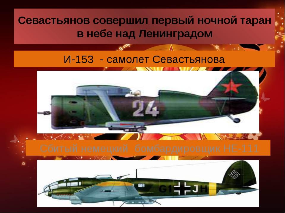 Севастьянов совершил первый ночной таран в небе над Ленинградом И-153 - самол...