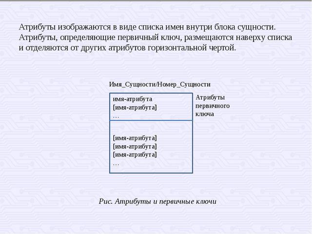 Атрибуты изображаются в виде списка имен внутри блока сущности. Атрибуты, опр...