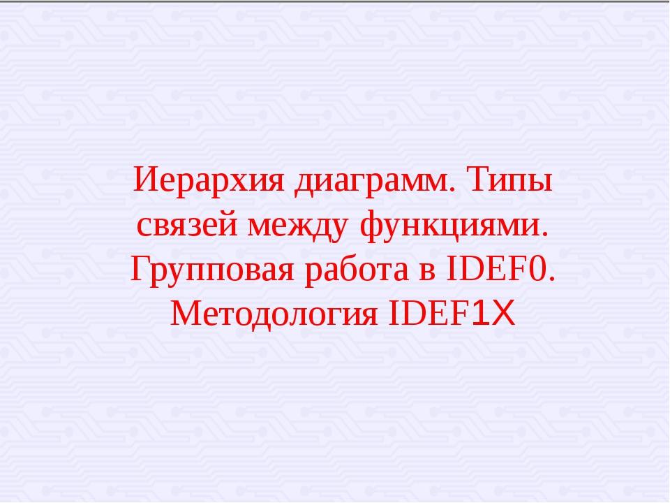 Иерархия диаграмм. Типы связей между функциями. Групповая работа в IDEF0. Мет...