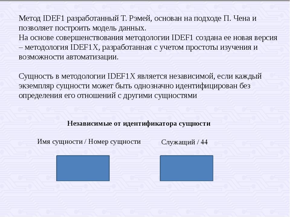 Метод IDEF1 разработанный Т. Рэмей, основан на подходе П. Чена и позволяет по...