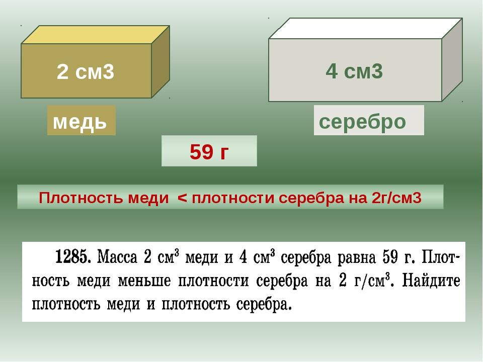 2 см3 4 см3 медь серебро 59 г Плотность меди < плотности серебра на 2г/см3 Жу...