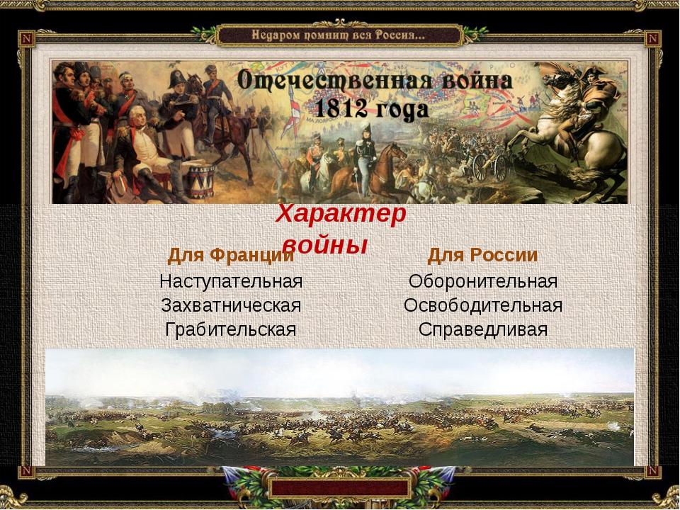 Характер войны Для ФранцииДля России Наступательная Захватническая Грабитель...