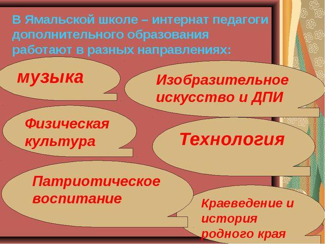 В Ямальской школе – интернат педагоги дополнительного образования работают в...
