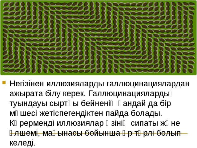 Негізінен иллюзияларды галлюцинациялардан ажырата білу керек. Галлюцинациялар...
