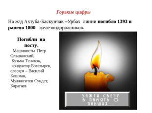 Горькие цифры На ж/д Ахтуба-Баскунчак –Урбах линии погибло 1393 и ранено 1800