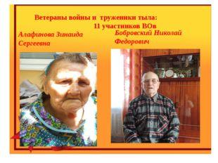 Ветераны войны и труженики тыла: 11 участников ВОв Алафинова Зинаида Сергеев