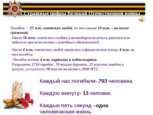 Страшные цифры Великой Отечественной войны Погибло - 27 млн. советских людей...