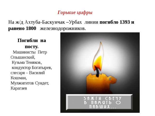 Горькие цифры На ж/д Ахтуба-Баскунчак –Урбах линии погибло 1393 и ранено 1800...