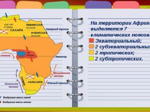 На территории Африки выделяется 7 климатических поясов: Экваториальный; 2 суб