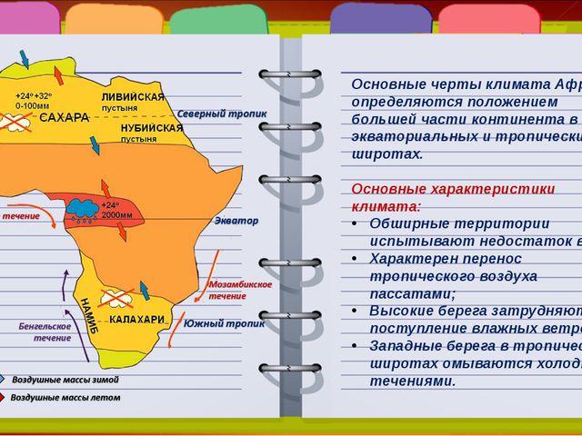 Основные черты климата Африки определяются положением большей части континент...