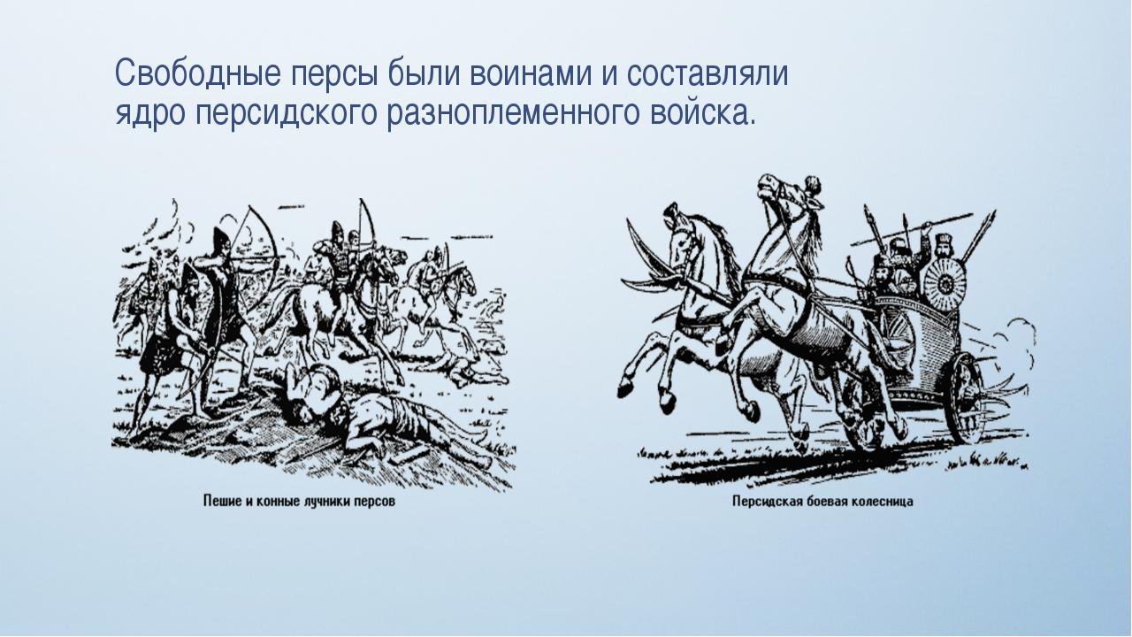 Свободные персы были воинами и составляли ядро персидского разноплеменного во...