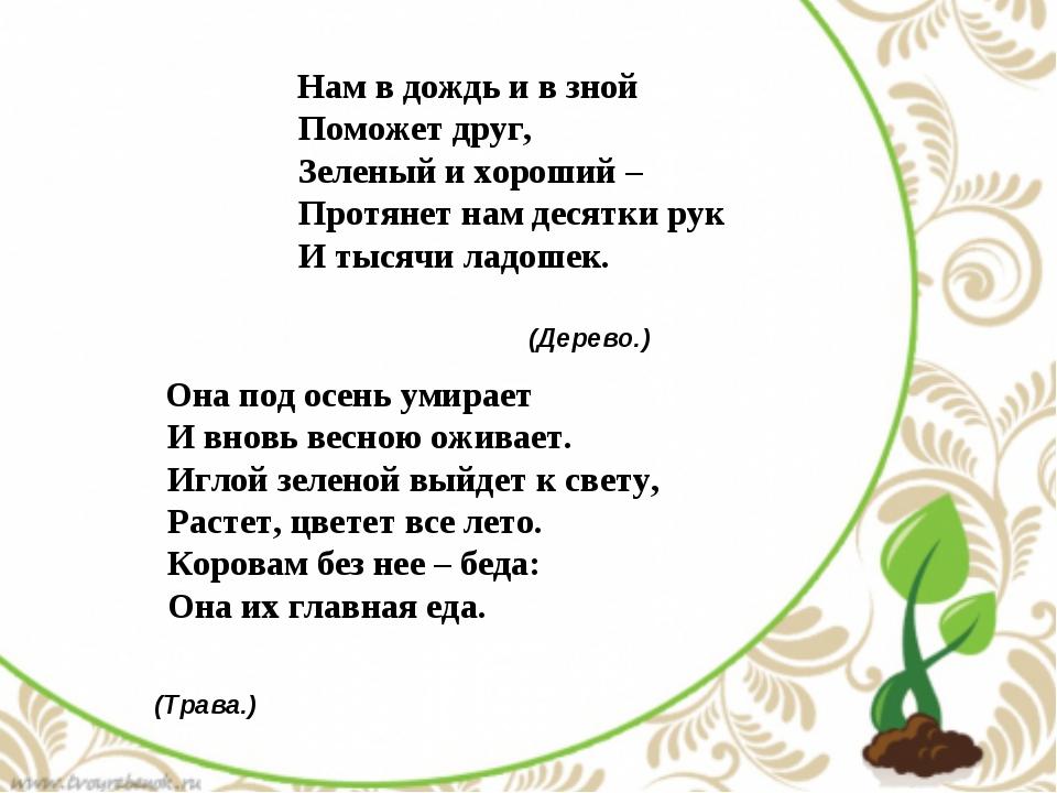 Нам в дождь и в зной Поможет друг, Зеленый и хороший – Протянет нам десят...