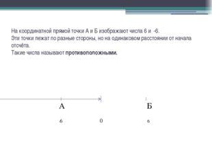 На координатной прямой точки А и Б изображают числа 6 и -6. Эти точки лежат п