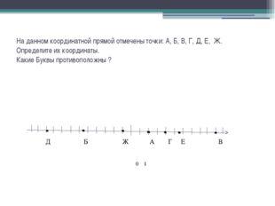 На данном координатной прямой отмечены точки: А, Б, В, Г, Д, Е, Ж. Определите