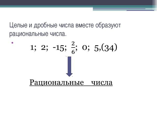 Целые и дробные числа вместе образуют рациональные числа.