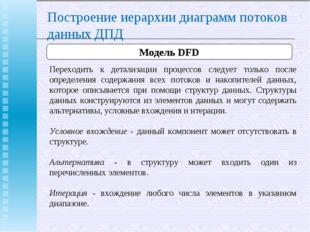 Построение иерархии диаграмм потоков данных ДПД Модель DFD Переходить к детал