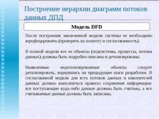 Построение иерархии диаграмм потоков данных ДПД Модель DFD После построения з