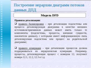 Построение иерархии диаграмм потоков данных ДПД Модель DFD Правила детализаци