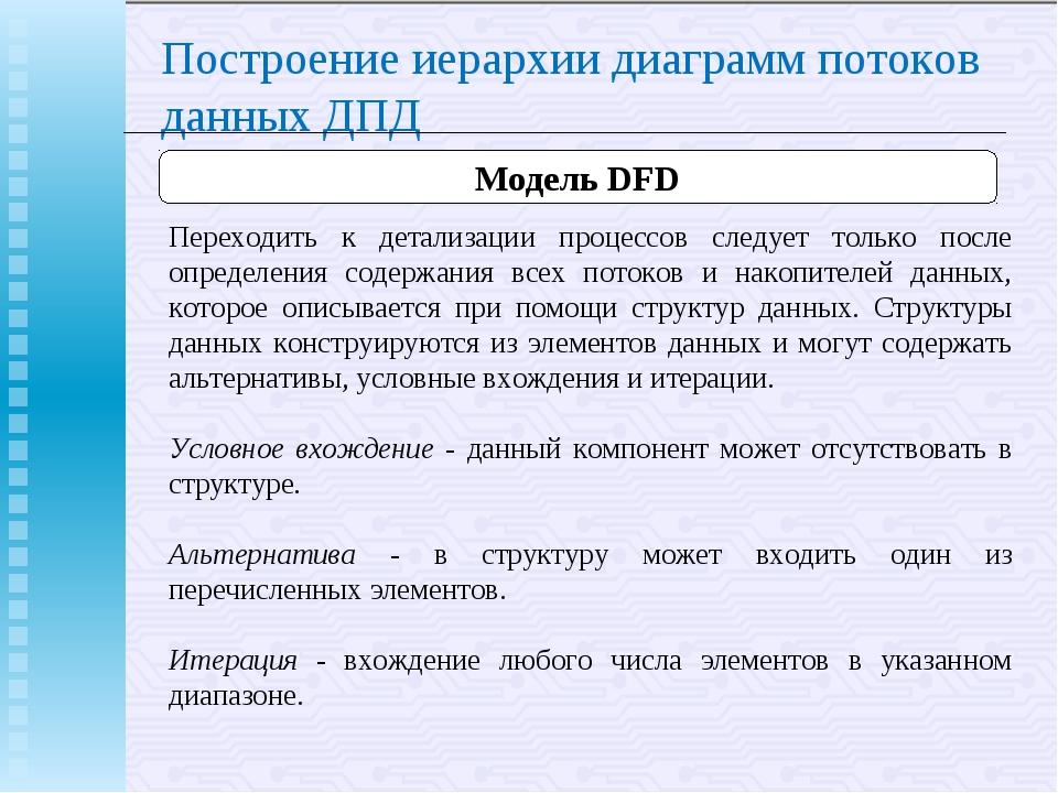 Построение иерархии диаграмм потоков данных ДПД Модель DFD Переходить к детал...