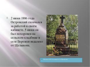 2 июня 1886 года Островский скончался за работой в своём кабинете. 5 июня он