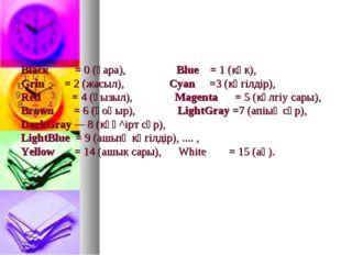Вlаск = 0 (қара), Вlue = 1 (көк), Grin = 2 (жасыл), Суаn =3 (көгілдір), Red