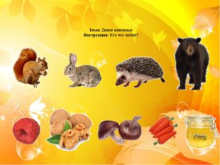 Тема: Дикие животные Инструкция: Кто что любит?