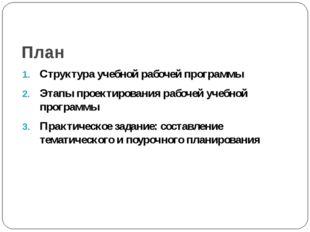 План Структура учебной рабочей программы Этапы проектирования рабочей учебной