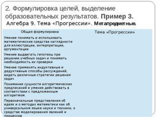 2. Формулировка целей, выделение образовательных результатов. Пример 3. Алгеб