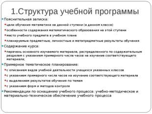 1.Структура учебной программы Пояснительная записка: цели обучения математике