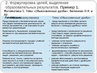 2. Формулировка целей, выделение образовательных результатов. Пример 1. Матем