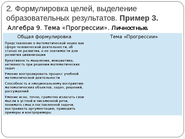 2. Формулировка целей, выделение образовательных результатов. Пример 3. Алгеб...