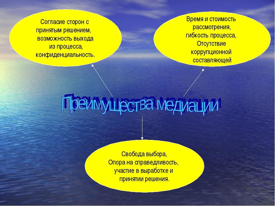 Согласие сторон с принятым решением, возможность выхода из процесса, конфиден...