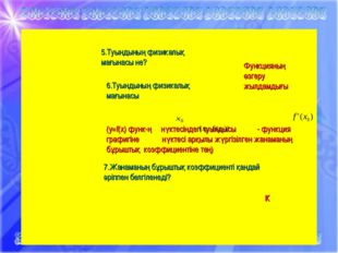 * 5.Туындының физикалық мағынасы не? Функцияның өзгеру жылдамдығы 6.Туындының