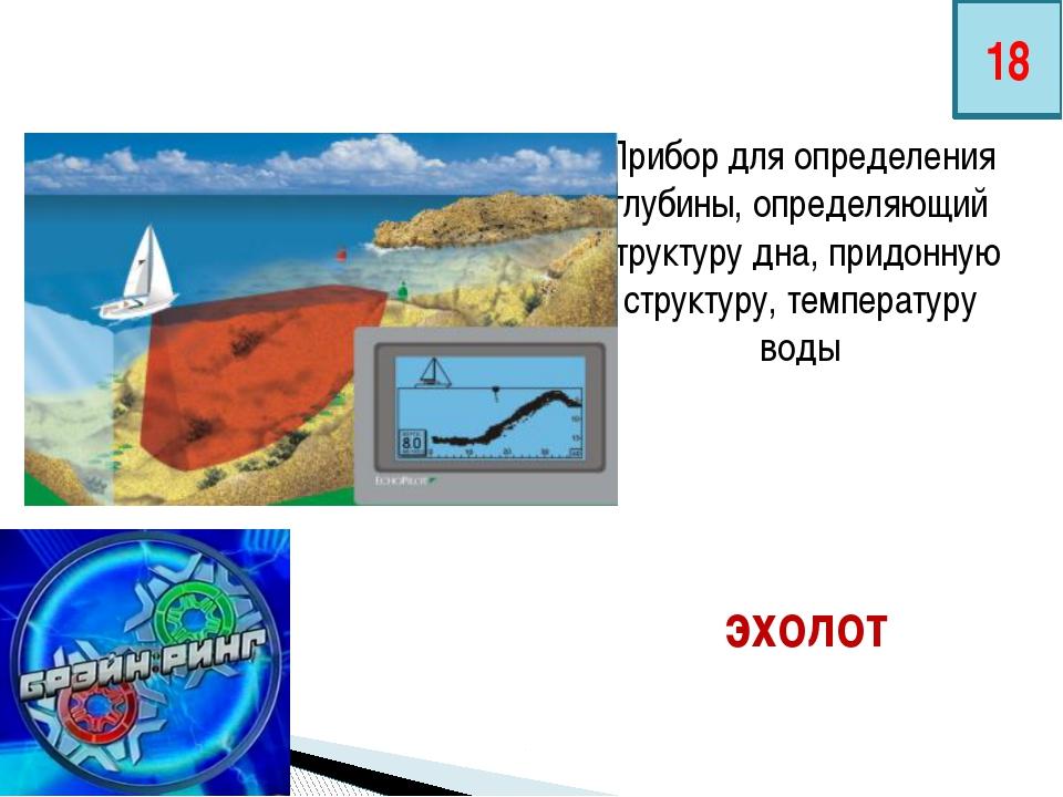 Прибор для определения глубины, определяющий структуру дна, придонную структу...