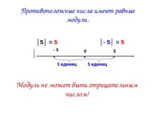 Противоположные числа имеют равные модули. Модуль не может быть отрицательны