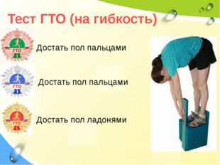 Тест ГТО (на гибкость) Достать пол пальцами Достать пол пальцами Достать пол