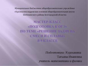 Подготовила: Курлыкина Татьяна Ивановна учитель математики и физики Муниципал