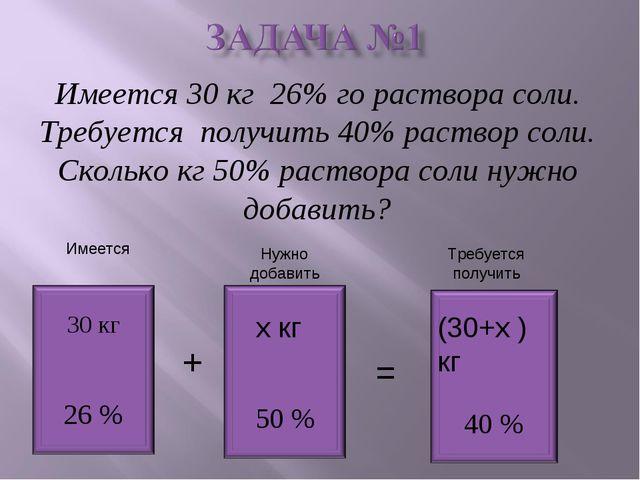 Имеется 30 кг 26% го раствора соли. Требуется получить 40% раствор соли. Скол...