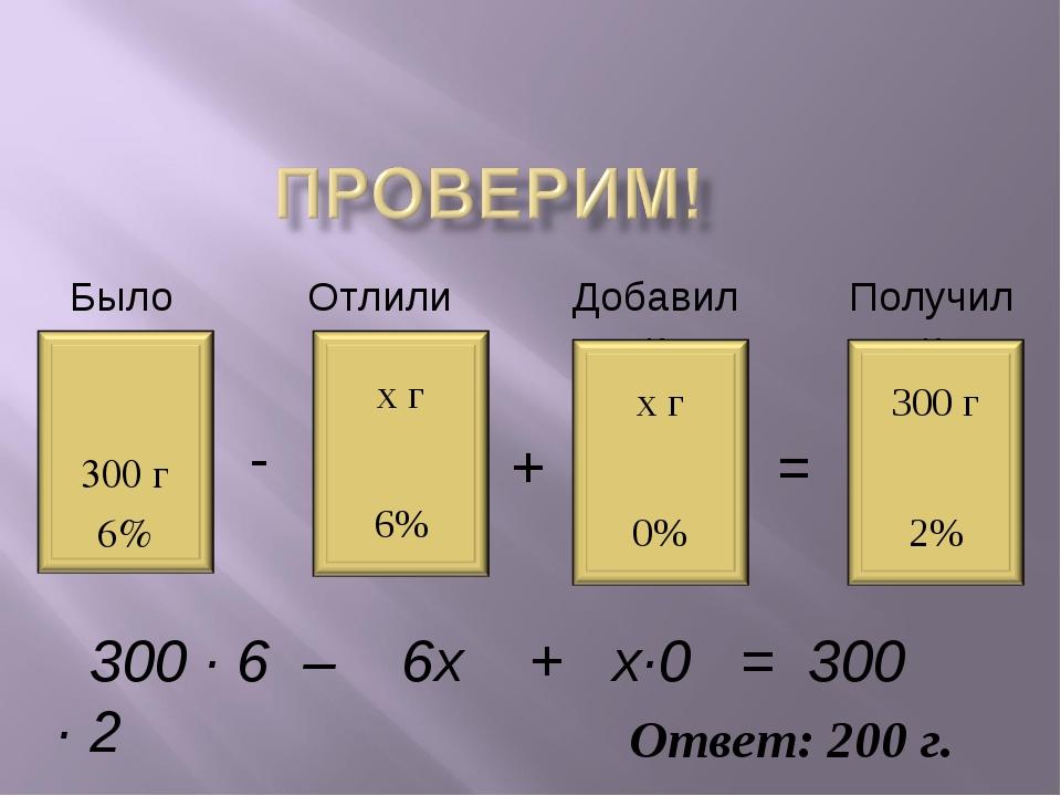 Было Отлили Добавили Получили - = + 300 · 6 – 6х + х·0 = 300 · 2 Ответ: 200 г.