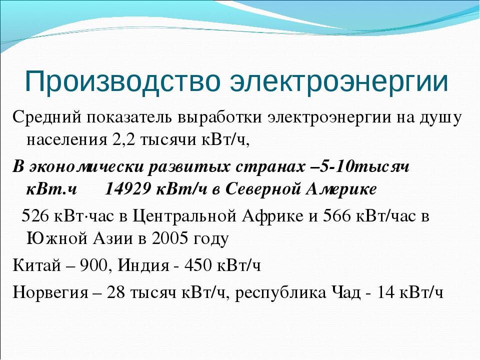 Производство электроэнергии Средний показатель выработки электроэнергии на ду...